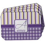 Purple Gingham & Stripe Dining Table Mat - Octagon w/ Name and Initial