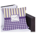 Purple Gingham & Stripe Outdoor Pillow (Personalized)