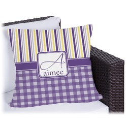 """Purple Gingham & Stripe Outdoor Pillow - 16"""" (Personalized)"""