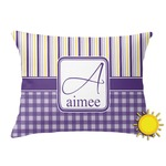 Purple Gingham & Stripe Outdoor Throw Pillow (Rectangular) (Personalized)