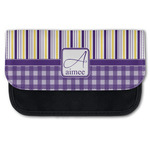 Purple Gingham & Stripe Canvas Pencil Case w/ Name and Initial