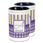 Purple Gingham & Stripe Ceramic Pencil Holder - Large