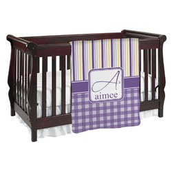 Purple Gingham & Stripe Baby Blanket (Personalized)