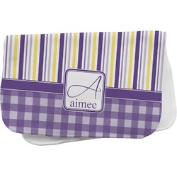 Purple Gingham & Stripe Burp Cloth (Personalized)