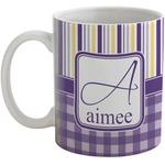 Purple Gingham & Stripe Coffee Mug (Personalized)