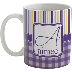 Purple Gingham & Stripe Coffee Mug (Personalized)