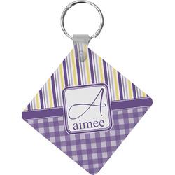 Purple Gingham & Stripe Diamond Key Chain (Personalized)