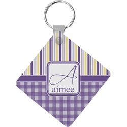 Purple Gingham & Stripe Diamond Key Chain (Personalized)