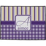 Purple Gingham & Stripe Door Mat (Personalized)