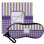 Purple Gingham & Stripe Eyeglass Case & Cloth (Personalized)