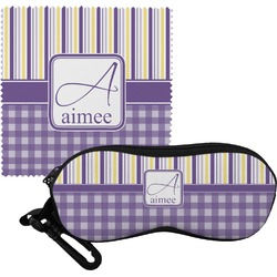 Purple Gingham & Stripe Eyeglass Case & Cloth (Personalized)