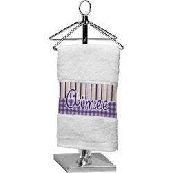 Purple Gingham & Stripe Finger Tip Towel (Personalized)