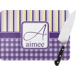 Purple Gingham & Stripe Rectangular Glass Cutting Board (Personalized)