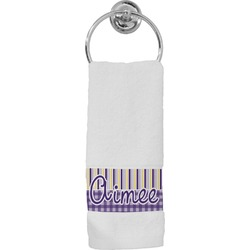 Purple Gingham & Stripe Hand Towel (Personalized)
