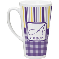 Purple Gingham & Stripe Latte Mug (Personalized)