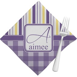 Purple Gingham & Stripe Cloth Napkins (Set of 4) (Personalized)