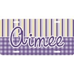 Purple Gingham & Stripe Front License Plate (Personalized)