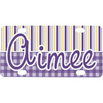 Purple Gingham & Stripe Mini / Bicycle License Plate (Personalized)