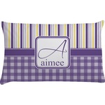 Purple Gingham & Stripe Pillow Case (Personalized)