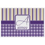 Purple Gingham & Stripe Placemat (Laminated) (Personalized)
