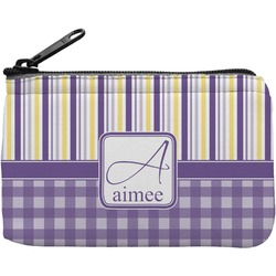 Purple Gingham & Stripe Rectangular Coin Purse (Personalized)