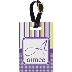 Purple Gingham & Stripe Rectangular Luggage Tag (Personalized)