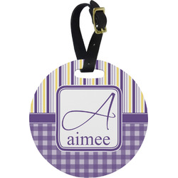 Purple Gingham & Stripe Round Luggage Tag (Personalized)