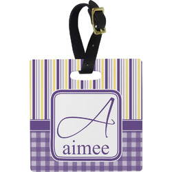 Purple Gingham & Stripe Luggage Tags (Personalized)