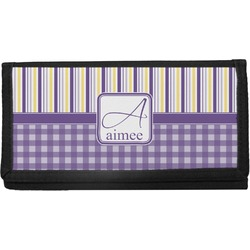Purple Gingham & Stripe Canvas Checkbook Cover (Personalized)