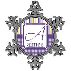 Purple Gingham & Stripe Vintage Snowflake Ornament (Personalized)
