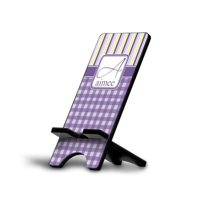 Purple Gingham & Stripe Cell Phone Stands (Personalized)