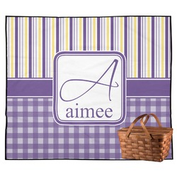 Purple Gingham & Stripe Outdoor Picnic Blanket (Personalized)