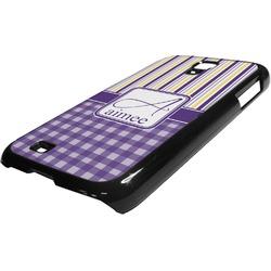 Purple Gingham & Stripe Plastic Samsung Galaxy 4 Phone Case (Personalized)