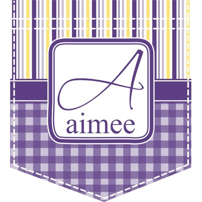Purple Gingham & Stripe Iron On Faux Pocket (Personalized)