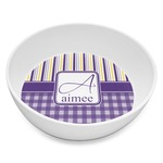 Purple Gingham & Stripe Melamine Bowl 8oz (Personalized)