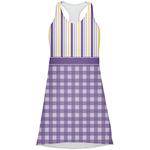 Purple Gingham & Stripe Racerback Dress (Personalized)