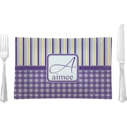 Purple Gingham & Stripe Rectangular Glass Lunch / Dinner Plate - Single or Set (Personalized)