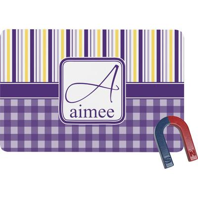 Purple Gingham & Stripe Rectangular Fridge Magnet (Personalized)