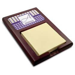 Purple Gingham & Stripe Red Mahogany Sticky Note Holder (Personalized)