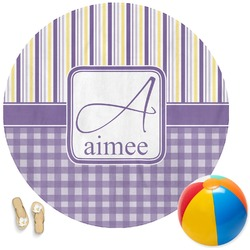 Purple Gingham & Stripe Round Beach Towel (Personalized)