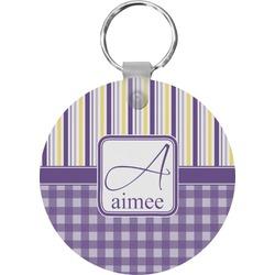 Purple Gingham & Stripe Round Keychain (Personalized)