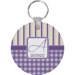 Purple Gingham & Stripe Keychains - FRP (Personalized)