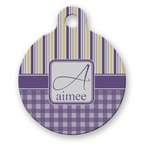 Purple Gingham & Stripe Round Pet ID Tag (Personalized)