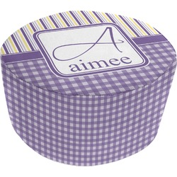 Purple Gingham & Stripe Round Pouf Ottoman (Personalized)