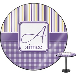 Purple Gingham & Stripe Round Table (Personalized)