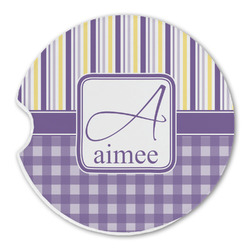 Purple Gingham & Stripe Sandstone Car Coasters (Personalized)