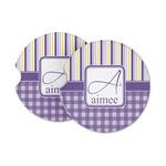 Purple Gingham & Stripe Sandstone Car Coasters (Personalized)
