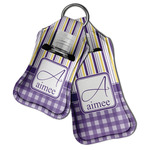 Purple Gingham & Stripe Hand Sanitizer & Keychain Holder (Personalized)