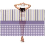 Purple Gingham & Stripe Sheer Sarong (Personalized)