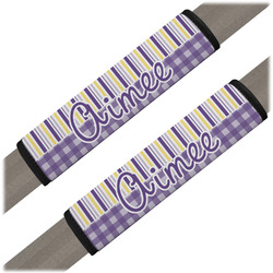 Purple Gingham & Stripe Seat Belt Covers (Set of 2) (Personalized)
